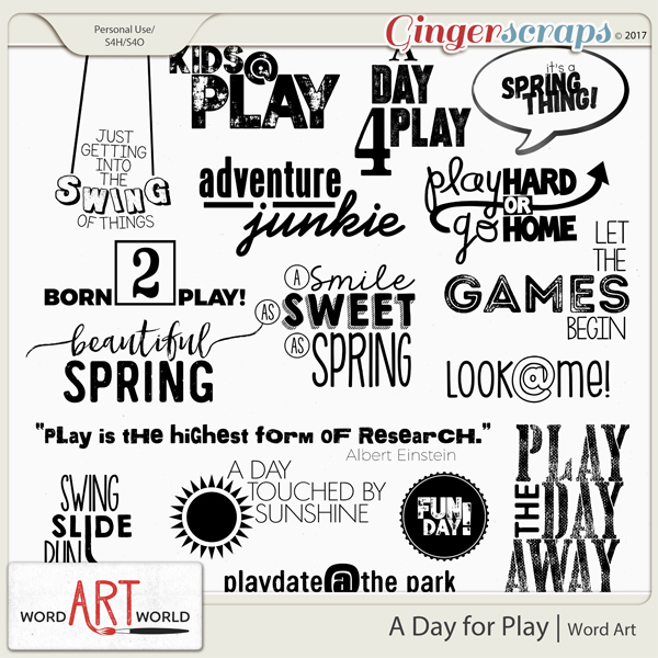 A Day for Play Word Art