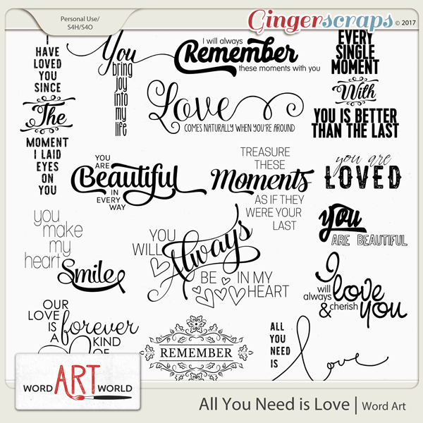 All You Need is Love Word Art