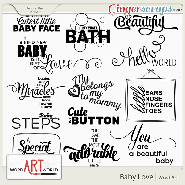 Baby Love Word Art