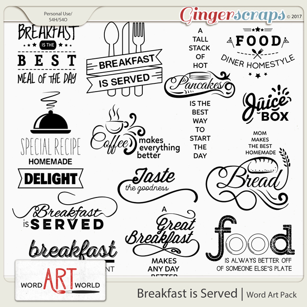 Breakfast is Served Word Art