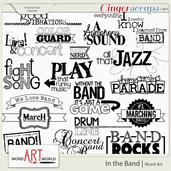In the Band Word Art