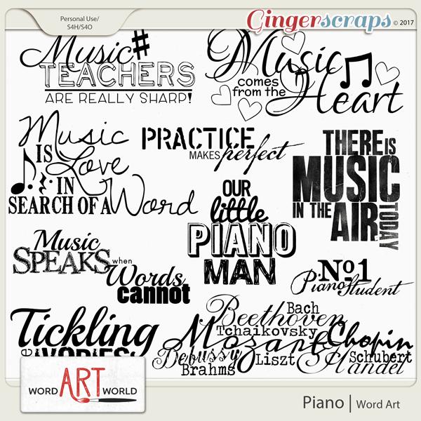 Piano Word Art