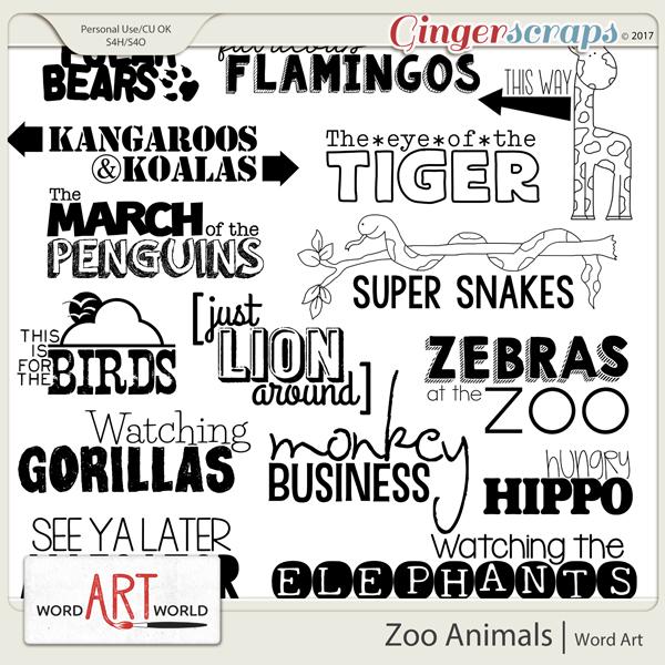 Zoo Animals Word Art