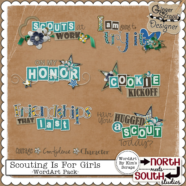 Scouting Is For Girls - WordArt Pack