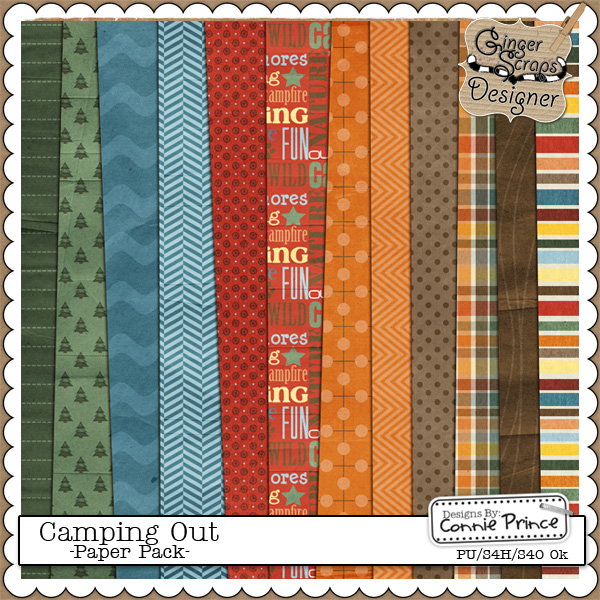 GingerScraps Campout: Paper Pack by Connie Prince