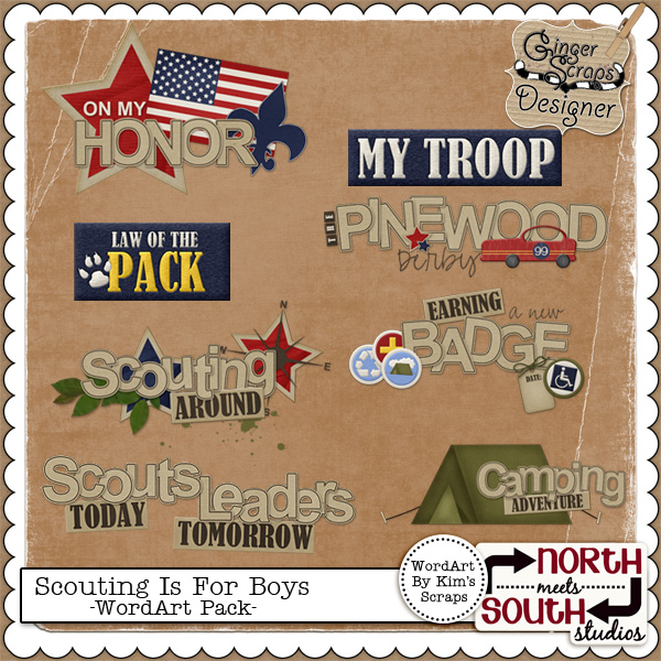 Scouting Is For Boys - WordArt Pack by North Meets South Studios