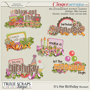 It&#039;s Her Birthday Wordart by Trixie Scraps Designs