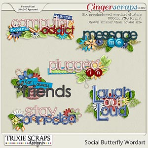 Social Butterfly Wordart by Trixie Scraps Designs