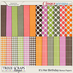It's Her Birthday Bonus Papers by Trixie Scraps Designs
