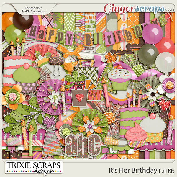 It's Her Birthday Full Kit by Trixie Scraps Designs