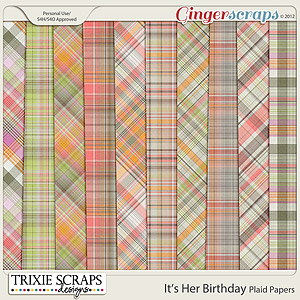 It's Her Birthday Plaid Papers by Trixie Scraps Designs