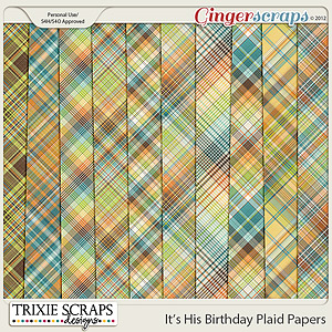It's His Birthday Plaid Papers by Trixie Scraps Designs