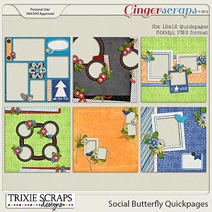 Social Butterfly Quickpages by Trixie Scraps Designs