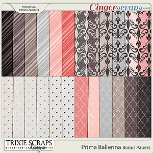 Prima Ballerina Bonus Papers by Trixie Scraps Designs