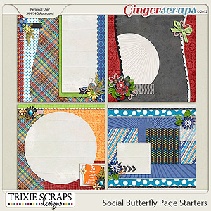 Social Butterfly Page Starters by Trixie Scraps Designs