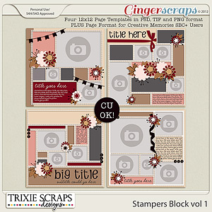 Stampers Block vol 1 template pack by Trixie Scraps Designs