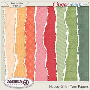 Happy Girls - Torn Papers by Aprilisa Designs