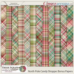 North Pole Candy Shoppe Bonus Papers by Trixie Scraps Designs