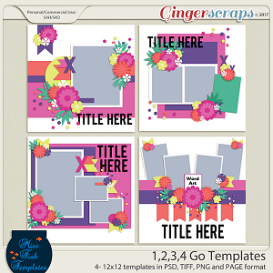 1, 2, 3, 4 Go by Miss Fish Templates