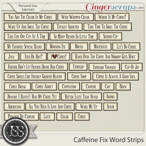 Caffeine Fix Word Labels