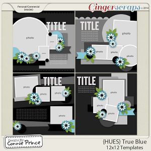 {HUES} True Blue - 12x12 Templates (CU Ok)