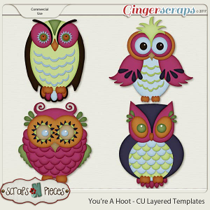 What A Hoot CU Layered Templates - Scraps N Pieces
