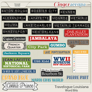Travelogue Louisiana - Word Bits