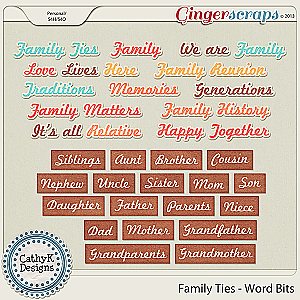 Family Ties Word Bits: by CathyK Designs