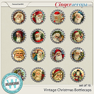 Vintage Christmas Bottlecaps by Kathy Winters Designs