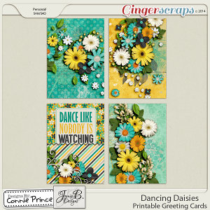 Dancing Daisies - Printable Greeting Cards
