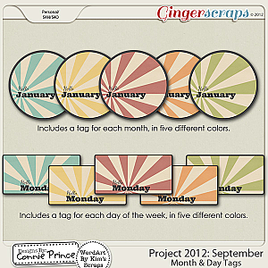 Project 2012:   September - Month & Day Tags