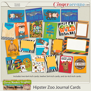 Hipster Zoo Journal Cards by Clever Monkey Graphics