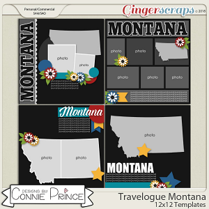 Travelogue Montana - 12x12 Temps (CU Ok) by Connie Prince