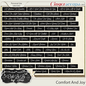 Comfort And Joy Word Labels