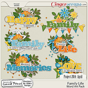 Project 2014 April:  Family Life - WordArt Pack