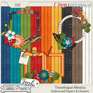 Travelogue Mexico - Embossed Papers & Cluster Pack