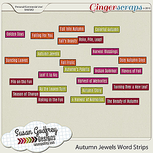 Autumn Jewels Word Strips by Susan Godfrey