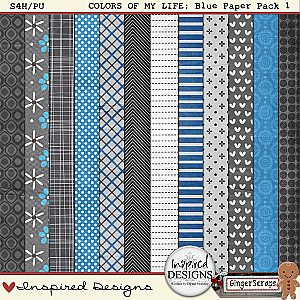 COLORS OF MY LIFE: BLUE Patterned Paper Pack by Inspired Designs
