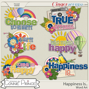 Happiness Is.. - Word Art Pack by Connie Prince