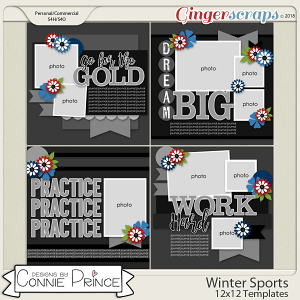 Winter Sports - 12x12 Temps (CU Ok) by Connie Prince