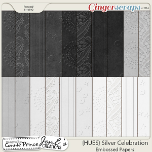{HUES} Silver Celebration - Embossed Papers