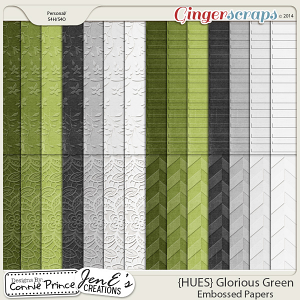{HUES} Glorious Green - Embossed Papers