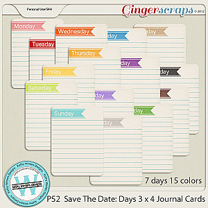 P52 Save The Date Journal Cards: Days