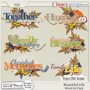 Project 2014 October: Bountiful Life - WordArt Pack