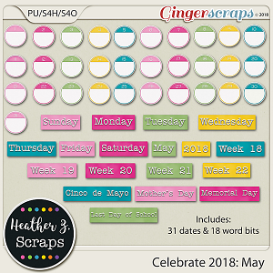 Celebrate 2018: May WORD BITS & DATES by Heather Z Scraps