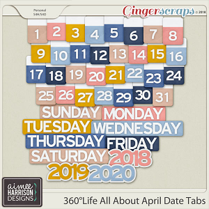 360°Life All About April Date Tabs by Aimee Harrison