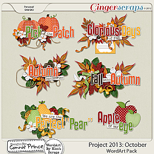 Project 2013:  October - WordArt Pack