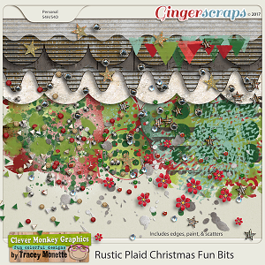 Rustic Plaid Christmas Fun Bits by Clever Monkey Graphics