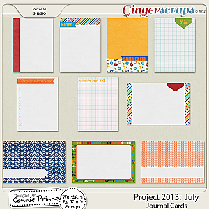 Project 2013: July - Journal Cards