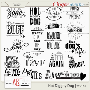 Hot Diggity Dog Word Art